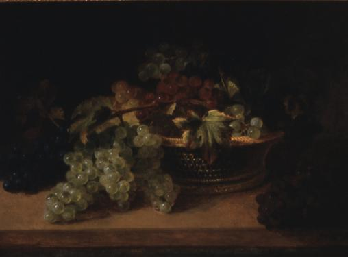 Still Life, Wicker Basket of Mixed Grapes
