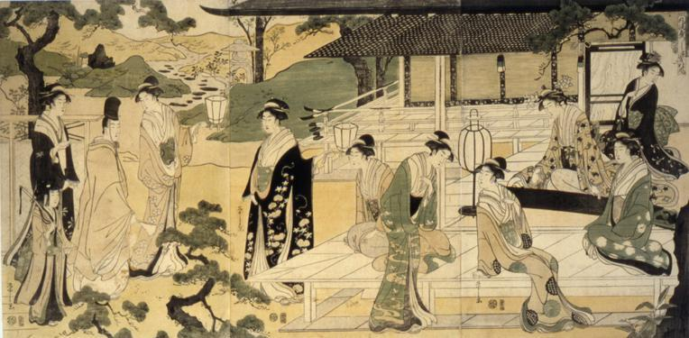 "Prince Geiji Visiting Women Playing Koto, Illustration of the ""Wind of the Pine Trees"" Chapter from the Tale of Genji"