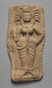 Goddess of Prosperity Holding a Pair of Fish, with Ears of Corn Projecting from Her Hair