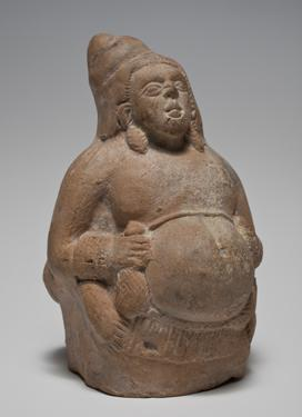 Rattle in the Form of a Yaksha (Nature Spirit) Holding a Money Bag, Precursor of Kubera (God of Wealth)