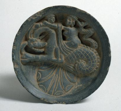 Dish with Woman Riding on Sea Creature