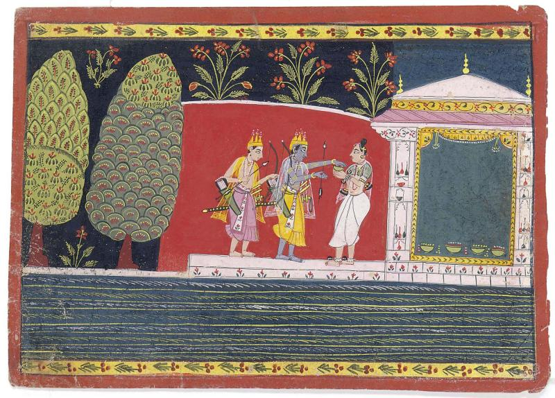 An Illustration to Ramayana, Rama and Lakshmana Visit an Ashram